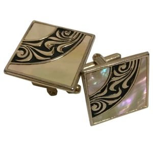 gold plated vintage cufflinks with enamel